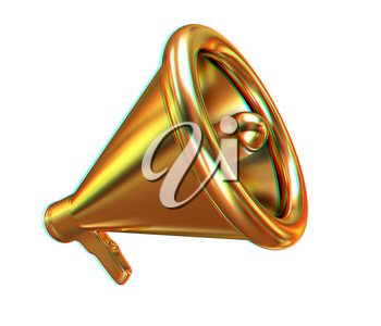 Gold loudspeaker as announcement icon. Illustration on white. 3D illustration. Anaglyph. View with red/cyan glasses to see in 3D.