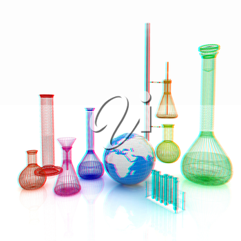 Chemistry set, with test tubes, and beakers filled with colored liquids and Earth. 3D illustration. Anaglyph. View with red/cyan glasses to see in 3D.