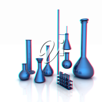 Chemistry set, with test tubes, and beakers filled with colored liquids. 3D illustration. Anaglyph. View with red/cyan glasses to see in 3D.