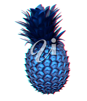 Abstract pineapple. 3D illustration. Anaglyph. View with red/cyan glasses to see in 3D.