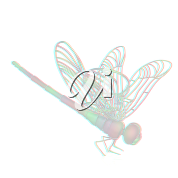 Dragonfly. 3D illustration. Anaglyph. View with red/cyan glasses to see in 3D.