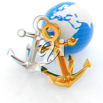 anchors and Earth. 3D illustration. Anaglyph. View with red/cyan glasses to see in 3D.