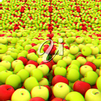 apples background. 3D illustration. Anaglyph. View with red/cyan glasses to see in 3D.