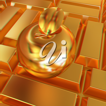 golden apple on the gold bars background. 3D illustration. Anaglyph. View with red/cyan glasses to see in 3D.