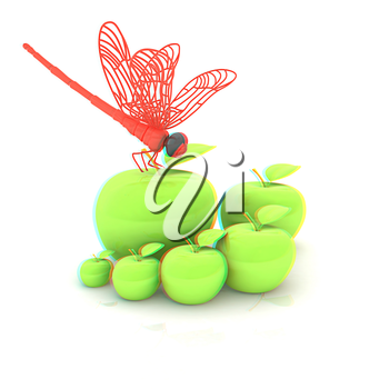 Dragonfly on apple. Natural eating concept. 3D illustration. Anaglyph. View with red/cyan glasses to see in 3D.