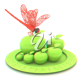 Dragonfly on apple on Serving dome or Cloche. Natural eating concept. 3D illustration. Anaglyph. View with red/cyan glasses to see in 3D.