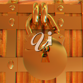 The chest - close-up. 3D illustration. Anaglyph. View with red/cyan glasses to see in 3D.