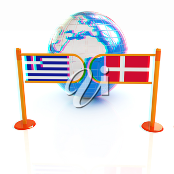 Three-dimensional image of the turnstile and flags of Denmark and Greece on a white background . 3D illustration. Anaglyph. View with red/cyan glasses to see in 3D.