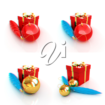 Set of Beautiful Christmas gifts. 3D illustration. Anaglyph. View with red/cyan glasses to see in 3D.
