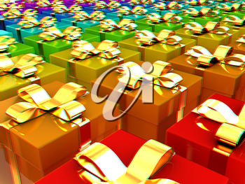 colorful gifts box. 3D illustration. Anaglyph. View with red/cyan glasses to see in 3D.
