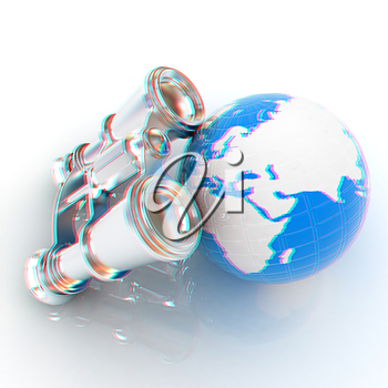 binocular around earth. 3D illustration. Anaglyph. View with red/cyan glasses to see in 3D.