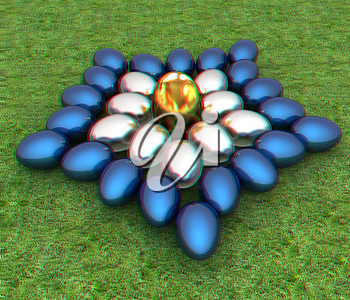 Blue metallic, metall and Gold Easter eggs as a flower on a green grass. 3D illustration. Anaglyph. View with red/cyan glasses to see in 3D.