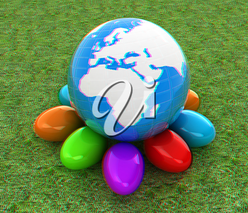 Earth on Colored Easter eggs on a green grass. 3D illustration. Anaglyph. View with red/cyan glasses to see in 3D.