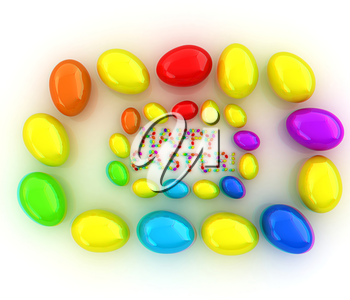 Easter eggs as a Happy Easter greeting on white background. 3D illustration. Anaglyph. View with red/cyan glasses to see in 3D.