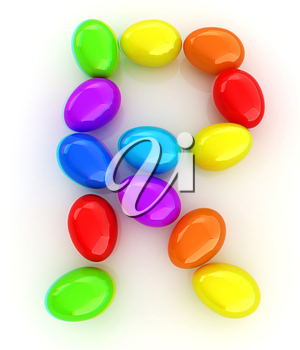 Alphabet from colorful eggs. Letter R. 3D illustration. Anaglyph. View with red/cyan glasses to see in 3D.