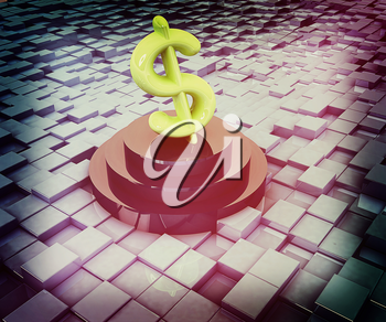 icon dollar sign on podium against abstract urban background. 3D illustration. Vintage style.