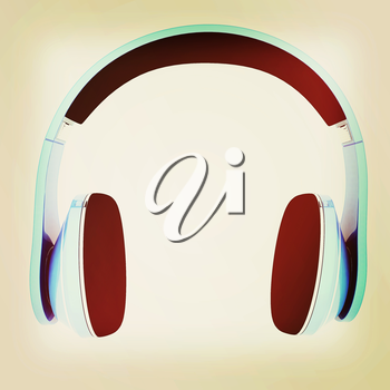 headphones on a white background. 3D illustration. Vintage style.