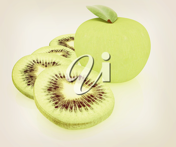 slices of kiwi and apple on a white . 3D illustration. Vintage style.