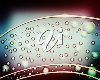 water bubbles and drops blue background . 3D illustration. Vintage style.