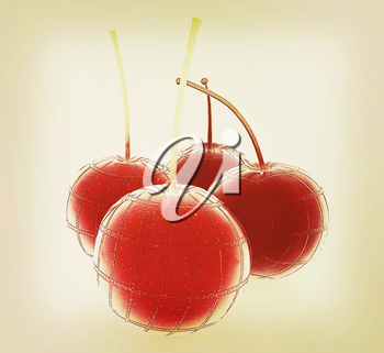 Sweet cherries on a white background. 3D illustration. Vintage style.