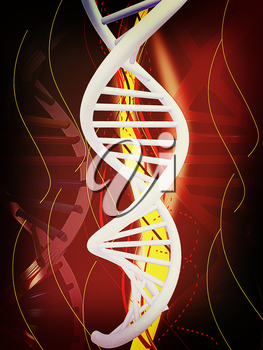 DNA structure model background . 3D illustration. Vintage style.