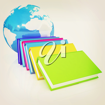 colorful real books and Earth. 3D illustration. Vintage style.