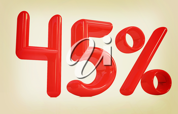 3d red 45 - forty five percent on a white background. 3D illustration. Vintage style.