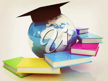 Global Education. 3D illustration. Vintage style.