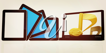 yellow note on the  laptop and  tablet pc on a white background. 3D illustration. Vintage style.