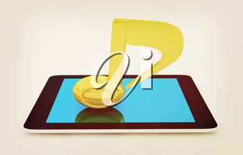 yellow note on the tablet pc on a white background. 3D illustration. Vintage style.