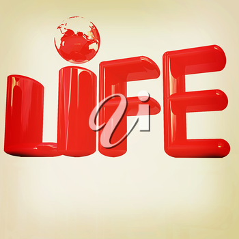 3d red text life on a white background. 3D illustration. Vintage style.