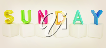 Colorful 3d letters Sunday on white cubes on a white background. 3D illustration. Vintage style.