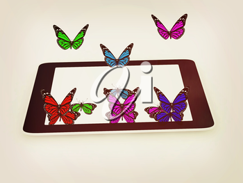 butterflies on a phone on a white background. 3D illustration. Vintage style.