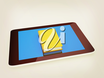 tablet pc and book on white background. 3D illustration. Vintage style.
