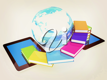 tablet pc and earth with colorful real books  on white background. 3D illustration. Vintage style.