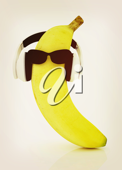 banana with sun glass and headphones front face on a white background. 3D illustration. Vintage style.