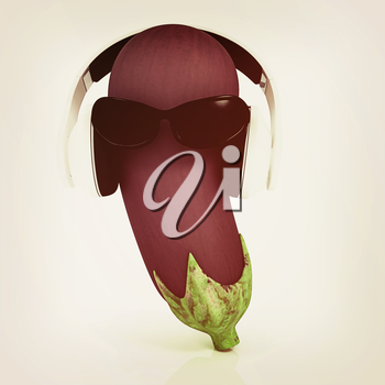 eggplant  with sun glass and headphones front face on a white background. 3D illustration. Vintage style.