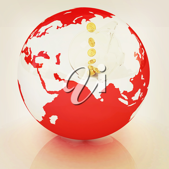 Global Banking concept. On white background. 3D illustration. Vintage style.