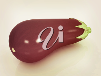 eggplant on a white background. 3D illustration. Vintage style.