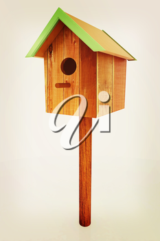 Nest box birdhouse on a white background. 3D illustration. Vintage style.