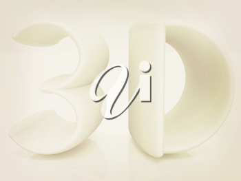 3d text on a white background