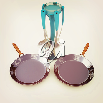 pan and cutlery on a white background. 3D illustration. Vintage style.