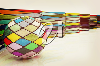 The mosaic ball against the background of colorful waves. 3D illustration. Vintage style.