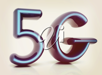 5g internet network. 3d text. 3D illustration. Vintage style.