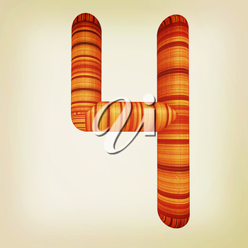 Wooden number 4- four on a white background. . 3D illustration. Vintage style.
