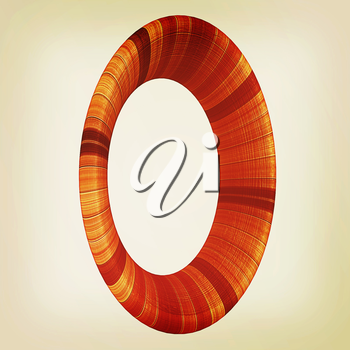 Wooden number 0- zero on a white background. . 3D illustration. Vintage style.