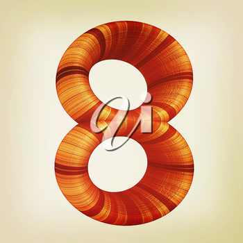 Wooden number 8- eight on a white background. . 3D illustration. Vintage style.