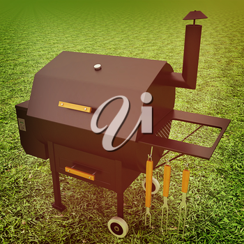 oven barbecue grill on the green grass. 3D illustration. Vintage style.