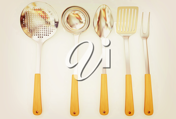 Cutlery on a white background . 3D illustration. Vintage style.