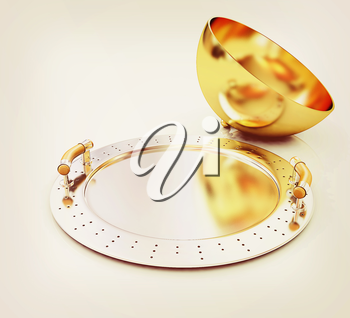 Restaurant cloche with lid on a white background. 3D illustration. Vintage style.